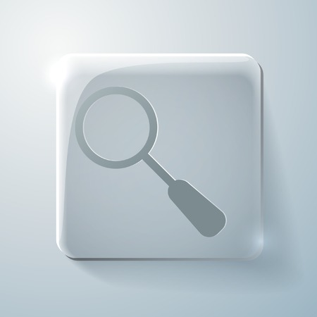 highlights: magnifier search sign. Glass square icon with highlights
