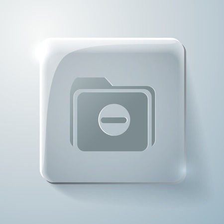 highlights: folder for documents sign. Glass square icon with highlights