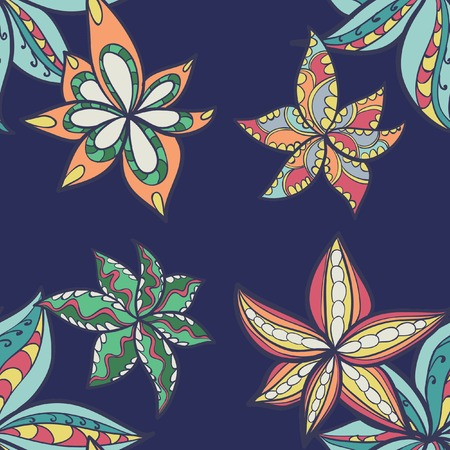 floral pattern with colorful  blooming flowers, seamless texture Illustration