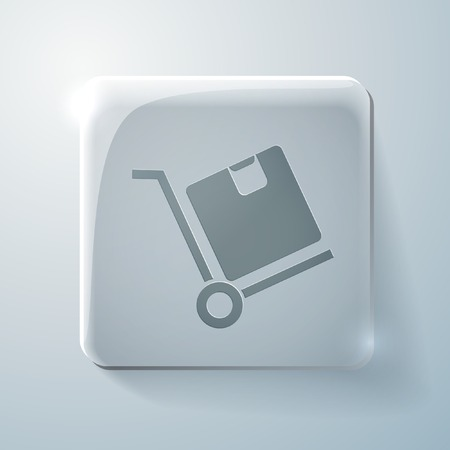 Truck with box. Logistic icon. Glass square icon with highlights Vector