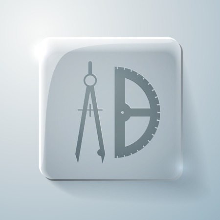the compass and protractor. characters geometry. Glass square icon with highlights Vector