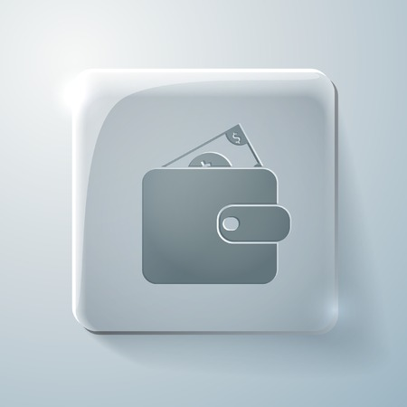 highlights: purse sign. Glass square icon with highlights