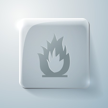 fire sign. Glass square icon with highlights Vector