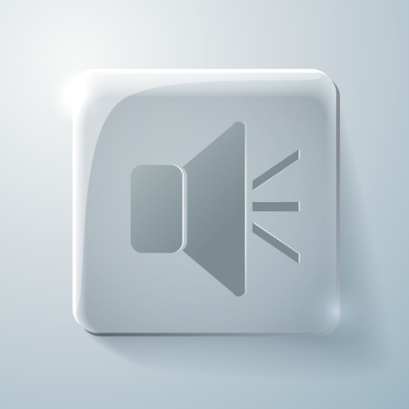 highlights: loudspeaker sign. Glass square icon with highlights