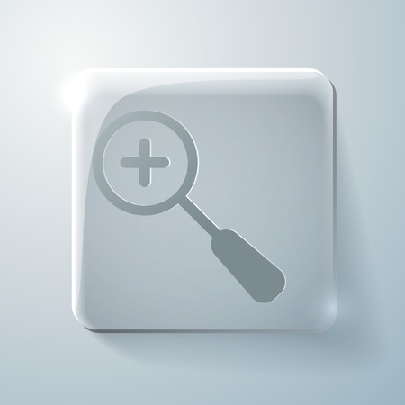mitigation: magnifier increase sign. Glass square icon with highlights