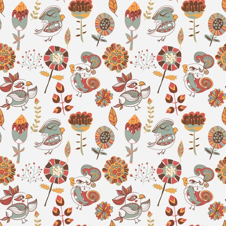 Seamless texture with flower and bird. Endless floral pattern. Can be used for wallpaper or pattern, backdrop, surface textures. Full color seamless floral background Vector