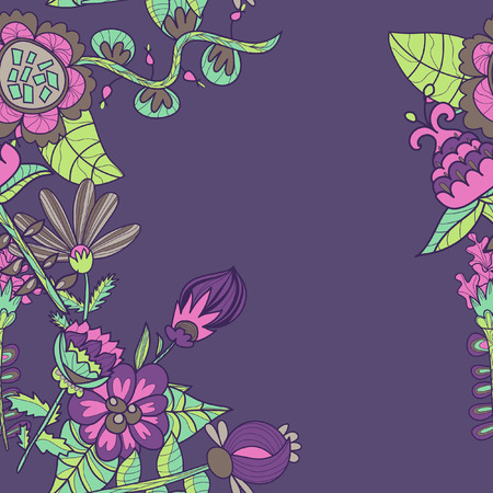 border with abstract hand-drawn flowers. ornament pattern. use as greeting card Vector