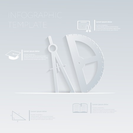 vector illustration, compass and protractor. template graphic or website layout. paper flat icon with a shadow. Vector