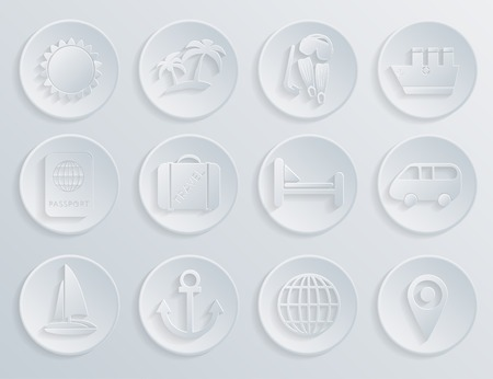 Travel icons set on white background.  Vector