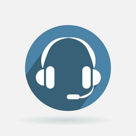 Cercle icône bleue avec l'ombre. soutien à la clientèle avatar Illustration