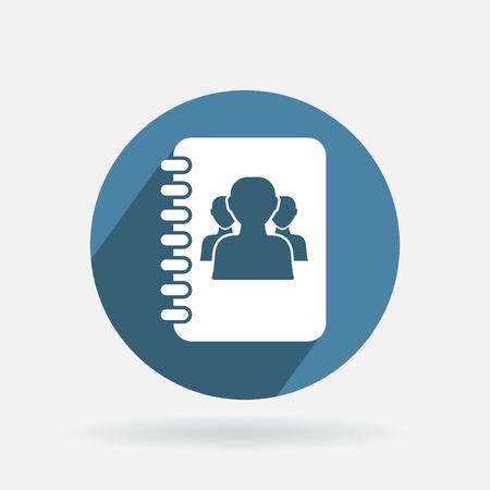 Cercle icône bleue avec l'ombre. téléphone carnet d'adresses