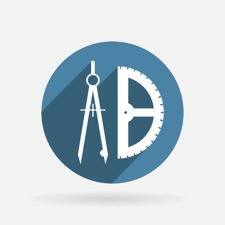 arquitecto: la brújula y transportador. geometría caracteres. Círculo icono azul con la sombra. Vectores