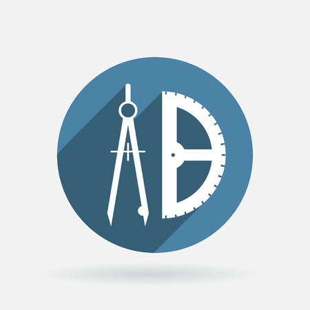 the compass and protractor. characters geometry. Circle blue icon with shadow. Vector