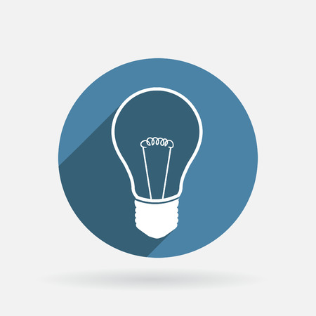 incandescent: incandescent lamp. light bulb. Circle blue icon with shadow Illustration