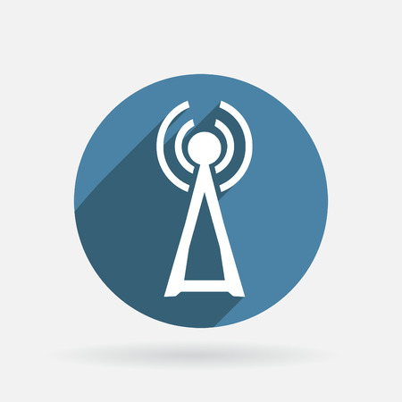the tower Circle blue icon with shadow Vector