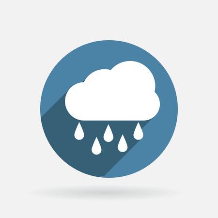 rain storm: cloud rain. Circle blue icon with shadow