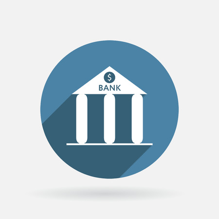 bank building. Circle blue icon with shadow. Vector
