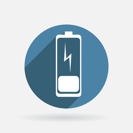 discharges: discharged battery. Circle blue icon with shadow. Illustration