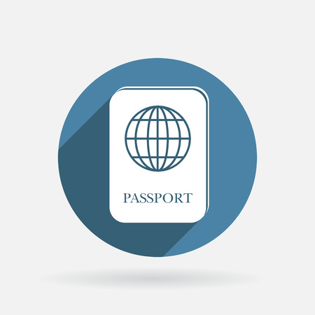international passport sign. Circle blue icon with shadow. Stock Vector - 30657335