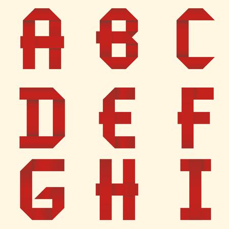 Ribbon Alphabet. Red ribbon. Vector