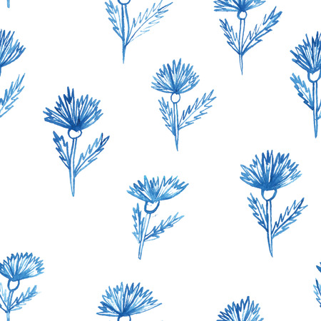 seamless pattern with flowers, aquarelle cornflower Vector
