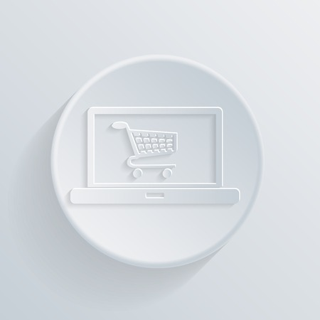 paper circle  flat icon with a shadow, notebook with symbol shopping cart, shopping in Internet-shop Vector
