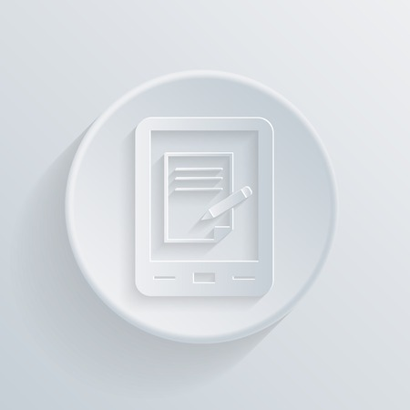 paper circle flat icon with a shadow. tablet pad with sheet of paper Vector