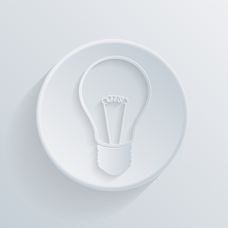 paper flat  circle icon with a shadow. incandescent lamp. light bulb
