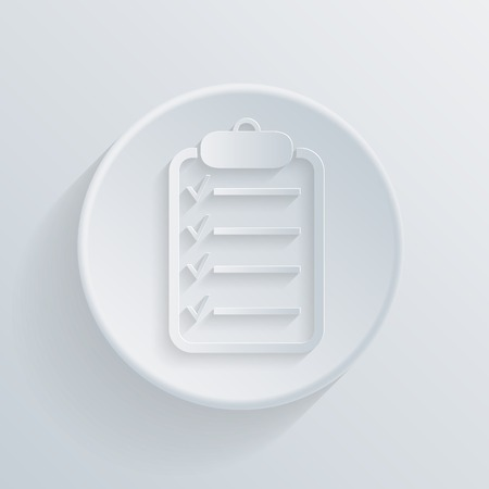 paper flat circle icon with a shadow, the sheet of paper on the tablet Vector