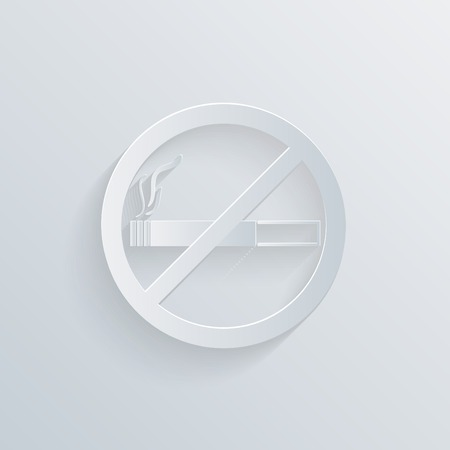 smoldering cigarette: No smoking sign. paper circle flat icon with a shadow Illustration