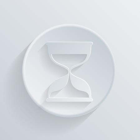 circle white paper icon with a long shadow. hourglass waiting Vector