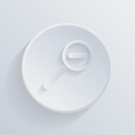 削減: 影付きの紙サークル フラット アイコン。拡大鏡の削減  イラスト・ベクター素材