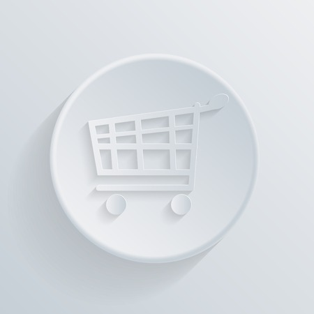 paper circle flat icon with a shadow, cart online store, Internet shop Vector