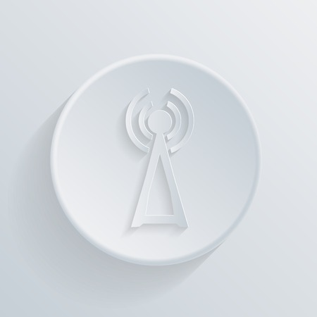 echnology: paper flat icon with a shadow, the tower of the wi-fi