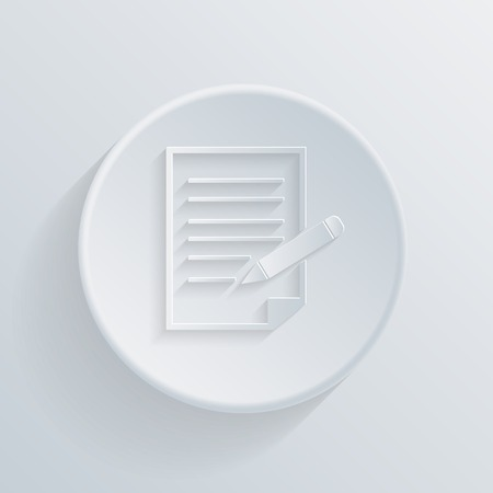 paper circle flat icon with a shadow. sheet of paper Vector