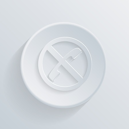 embargo: paper circle flat icon with a shadow. forbidden to use phone Illustration