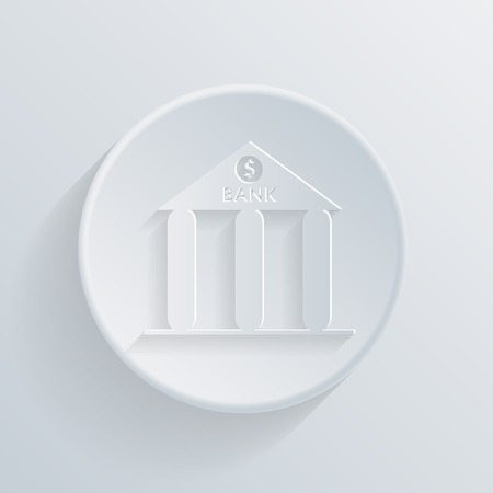 bank building, circle white paper icon with a long shadow. Vector