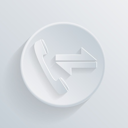 incoming: incoming and outgoing call, circle white paper icon with a long shadow. Illustration