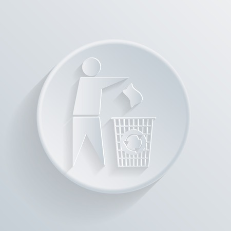 do not litter. circle white paper icon with a long shadow. Vector