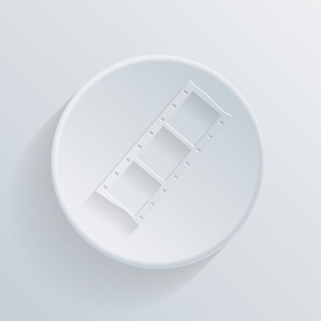 slick: film. circle white paper icon with a long shadow. Illustration