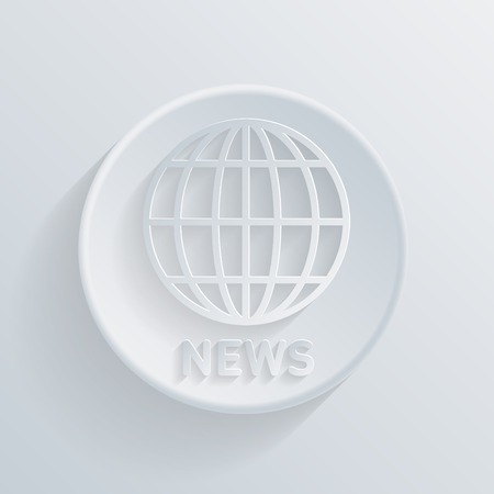 globe  the terrestrial ball: circle white paper icon with a long shadow. globe symbol. news Illustration