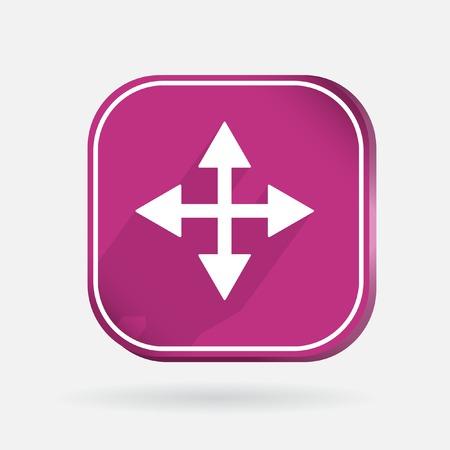 crimson: Color icon with shadow. move arrows sign