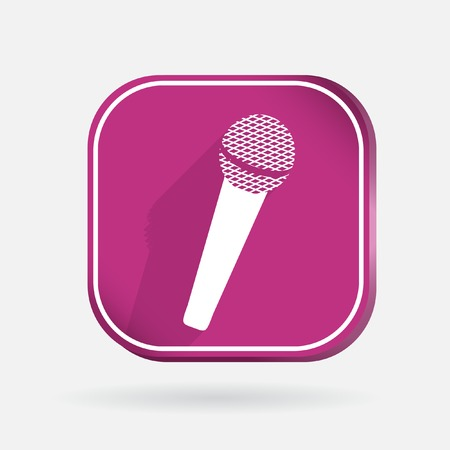 microphone sign. Color square icon with shadow Illustration