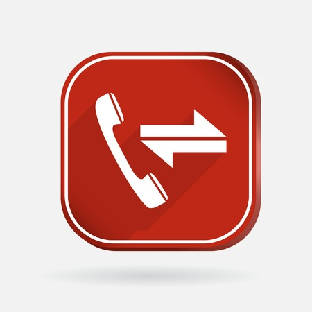 outgoing: incoming and outgoing call.  Color square icon Illustration