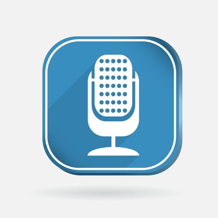 microphone sign.  Color square icon Vector