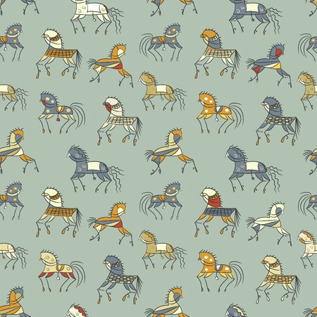 ethnics horse galloping. colored seamless texture. used as fill pattern, backdrop, wallpaper, pattern for fabric Vector