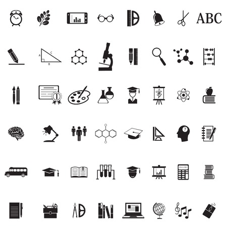 Onderwijs School Icon Set. 48 pictogrammen Stock Illustratie