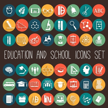 Education School Flat Icon Set. 48 icons Çizim