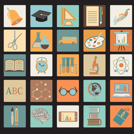 Education School Colored Flat Icon Set.