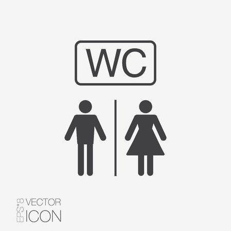 Vector restroom icons: lady, man